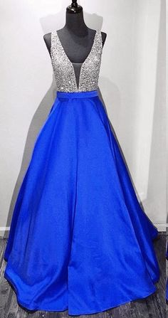 Royal Blue Prom Dress Deep V Back, Birthday Party Dresses, Formal Dress For Teens, Sweet 16 Dress on Storenvy