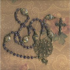 Amethyst and Lampwork Bead Rosary  Hand strung