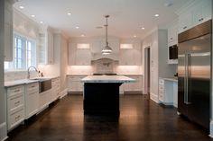 Tenafly NJ Custom Home - Contemporary - Kitchen - New York - Michelle Winick Design Chadwick Restoration Pendants http://www.pinterest.com/pin/307792955753482544/