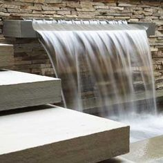 Don't Just Jump into a Water Feature Thinking of a smaller version of this on the back of an existing outdoor fireplace as the start of a water feature. Starts formal, turns into creek bed, ending in small hidden pond. Outdoor Water Features, Pool Water Features, Water Features In The Garden, Contemporary Water Feature, Contemporary Garden, Pond Fountains, Outdoor Fountains, Backyard Water Feature, Water Walls
