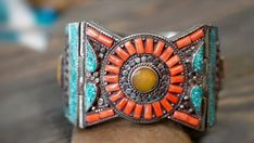 Tibetan silver cuff bracelet,Turquoise amber and coral bracelet,Nepal…