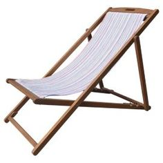 Buy Tesco Bright Stripe Wooden Deckchair From Our Garden Chairs Range Tesco Com