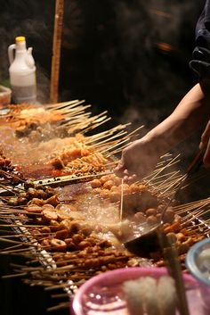 Street Food in China. An endless variety of fried whatever.- Eating Across China is our Chinese Heritage Camp II theme in Chinese Street Food, Asian Street Food, Chinese Food, World Street Food, Street Food Market, Beijing Food, Beijing China, Asian Recipes, Ethnic Recipes