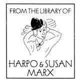 Ex libris del actor estadounidense Harpo Marx (1888-1964), uno de los cinco hermanos Marx, y de su esposa Susan Fleming.