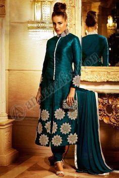 #AndaazFashion presents Teal Bhagalpuri Silk Churidar Suit With Dupatta Prix:93,13 €   http://www.andaazfashion.fr/salwar-kameez/churidar-suits/teal-bhagalpuri-and-silk-churidar-suit-with-dupatta-dmv13803.html