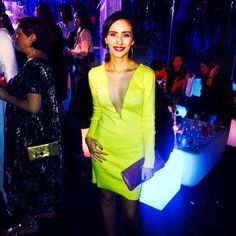Celebrating 16 years of VIVA Magazine in a yellow Marie Ollie dress!