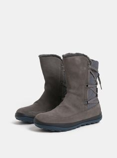 Šedé dámské semišové kotníkové boty s vnitřním umělým kožíškem Camper Peu  Pista ceebf66d96