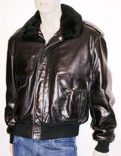 Surprising 80s Rider Bomber Jacket Black Leather  Branded SCHOTT  Giubbotto Uomo Pelle Nero Vintage Originale Anni '80 Taglia XL USA di BeHappieWorld su Etsy