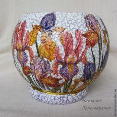Купить Вазы ручной работы. Стеклянная ваза Ирисы на клумбе - розовый, фиолетовый, желтый, ирисы
