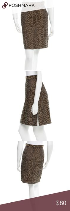 "Fendi Cheetah Skirt Brown Fendi pencil skirt with cheetah print throughout and concealed zip closure at back. Waist: 26"" Hip: 36"" Length: 21.5"" Condition: Very Good. Faint wear throughout. Fabric: 70% Polyester, 30% Cotton Designer: Fendi Fendi Skirts Midi"