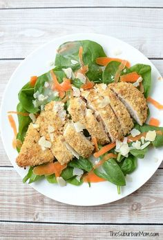 Shocking news - my kids begged for seconds of this Parmesan And Herb Crusted Chicken Salad. It is that good!