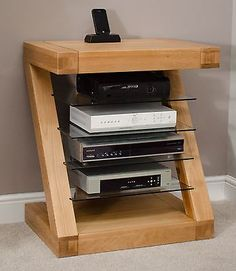 Zaria solid oak designer furniture hi-fi cabinet DVD console storage unit