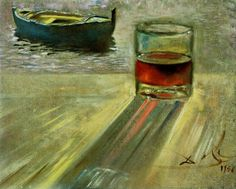 Glass of Wine and Boat, 1956 by Salvador Dali. Impressionism. still life. Private Collection