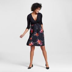 Maternity Surplice Belted Dress Black Floral - Expected by Lilac : Target