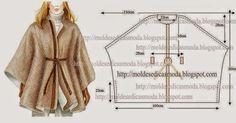 Full-bodied COVER CUT SIMPLE , Moldes Moda por Medida: CAPA ENCORPADA SIMPLES DE CORTAR.