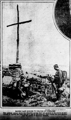 "WWI, 6 Aug 1917; Salonica, Tommies paying their last respects to the graves of their friends and leaving the front line for a rest in the supports"" - Evening Public Ledger, Philadelphia"