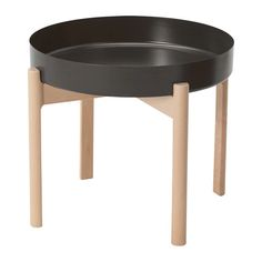 IKEA - YPPERLIG, Coffee table, dark gray, birch, Solid birch is a durable natural material. The included plastic feet protect the floor from scratches. Four plastic feet to protect the floor against scratches included. For indoor use. Ikea X Hay, Ypperlig Ikea, Ikea Coffee Table, Small Coffee Table, Ikea Round Table, Coffee Tray, Ikea Lisabo, Hacks Ikea, Tuff Tray