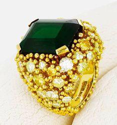 A green tourmaline, colored diamond and diamond ring, Andrew Grima