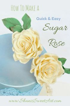 How to make a quick and easy sugar rose with gum paste. Great for when you need a lot of roses fast or you have a client on a budget Sugar Paste Flowers, Icing Flowers, Buttercream Flowers, Edible Flowers, Fondant Flower Cake, Fondant Bow, Fondant Cakes, Cake Decorating For Beginners, Cake Decorating Tutorials