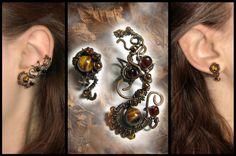 Autumn colors ear cuff amd stud by JSjewelry on deviantART