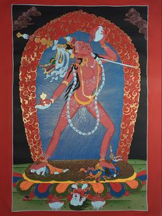 Vajrayogini Tantric Female Buddha Hand Painted Tibetan Canvas Cotton Thangka From Nepal 84/60 cm Buddha's Hand, Wheel Of Life, Soothing Colors, Hand Painted Canvas, Tantra, Deities, Buddhism, Meditation, Spirituality