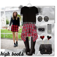 """""""High boots"""" by gelykou on Polyvore High Boots, Skater Skirt, Hipster, Shoe Bag, Skirts, Polyvore, Stuff To Buy, Shopping, Collection"""