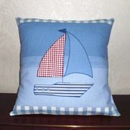 Cute Nautical Cushion - Laura Ashley 'On-the-Sea' Boats Fabric
