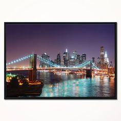Quadro Moderno Cm 100x50 Stampa su Tela Arte Arredo Design Città Notte New York