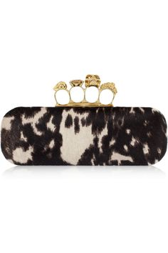 8d9741c7208a Alexander McQueen Leopard-print calf hair clutch..look at the handle