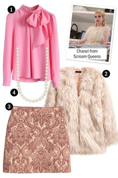 Lots of fur, pink, and pearls and bam: you've got Chanel's look from Scream Queens. Halloween Inspo, Easy Halloween Costumes, Costume Ideas, Scream Queens Costume, Elizabeth Bathory, I Am A Queen, Fur Coat, Daughter, Celebrities