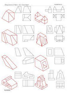 losmuertosdeldiedrico - #losmuertosdeldiedrico Drawing Practice, Drawing Lessons, Drawing Techniques, Orthographic Drawing, Orthographic Projection, 3d Drawings, Drawing Sketches, Isometric Drawing Exercises, Drafting Drawing