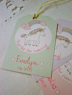 Personalized Rainbow Unicorn Favor Tags. Includes Twine. These Unicorn favor tags are perfect to add to your favor bags, gift bags, packages or bags of candy.  ::::::::::::::::::::::::::::::::::::::::::::::::::  #unicorn #thankyou #paper #tags #favortag #rainbow #favors #hangtag #little# #girl #gift #kids #birthday #treat #giftbag #candybag #printed #magical #party #goody #bag