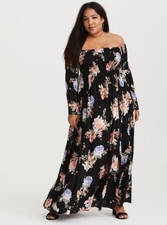 0dd6062a4178f Floral Smocked Maxi Dress (Short Inseam Now Available). Plus Size ...