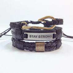 www.elo7.com.br/cocarbrasil Kit pulseiras masculinas stay strong bracelets shambala shamballa macrame fashion