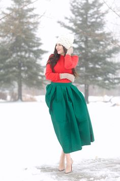 Red + Green | Skirt: ChicWish(love the red version too) ℅ | Sweater: H&M, old (similar style) | Hat: Free People | Heels: Christian Louboutin |Lips: Liner-Cherry by MAC, Lipstick-YSL Rouge Pur Couture #13 … I can't believe Christmas Eve is tomorrow, it seems like Thanksgiving was just yesterday! Today I'm sharing one last holiday look in case you're [&hellip