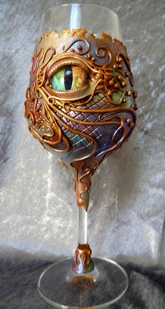 """Watch What You Drink"" - Polymer Clay Decorated Wine Glass by Melody Tallon on Flickr"