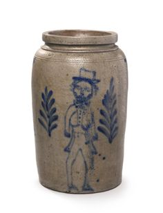 Rare AmericanTwo Gallon Salt-Glazed Stoneware Crock with Cobalt Blue Decoration of a Man in Morning Dress, 19th century   Lot   Sotheby's