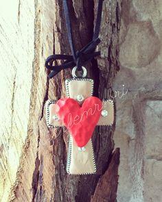 Clay Cross Pendant Necklace w/ Swarovski by LittleMrsBriBoutique