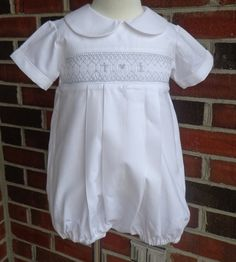 Hand smocked Baby Boy Baptism outfit made to order by thebabyduck