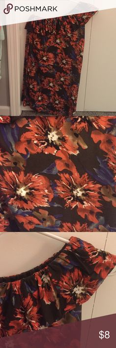 Floral one shoulder dress Brown dress with coral and blue floral print. One shoulder and tight form fitting. Comes with tie for around waist. Great condition Charlotte Russe Dresses One Shoulder