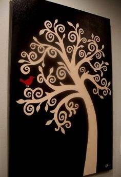 White on Black Tree Painting w/ Red Bird  make it a turquoise bird and i would love it