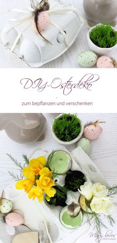 DIY Easter decoration to plant and give away - Easter crafts - Color . Ostergeschenk Diy, Diy Easter Decorations, Table Decorations, Diy Ostern, Fruit Arrangements, Try Something New, Special Recipes, Diy Food, Easter Crafts