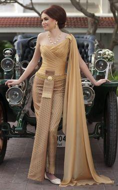 About thai silk dress on pinterest thai wedding dress thai dress