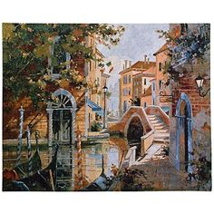 """Venice Canal 53"""" Wide Wall Tapestry"""