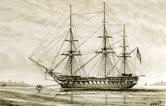 USS Essex, 1799-1814, during her Pacific Cruise, circa 1814. Drawing by Captain William Bainbridge Hoff, from the Porter Collection, NH 51051.