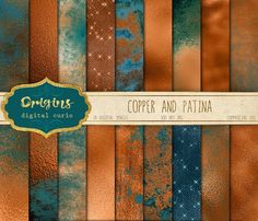 Copper and Patina digital paper This is a set of 18 high quality copper and pati. Posca Art, Wedding Props, Terracota, Color Dorado, Colour Board, Paint Markers, Copper Color, Colour Schemes, Color Inspiration