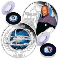 TUVALU 2015  2 x 1 $ Dollar - Star Trek - Set (3.) - Deep Space 9 + Captain Sisko - 2 x 1 Oz. Silver Proof Coin in Color - in Single Boxes. TUVALU 2015  2 x 1 $ Dollar - Star Trek - Satz (3.) - Deep Space 9 + Captain Sisko - 2 x 1 Oz. Silber Farbe in Polierter Platte - Lieferung in Einzelboxen.