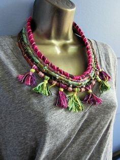Spirit of Janis Tassel and Scrap Textile Beaded Bib by OneManTrash. I love the tassel effect on this necklace.