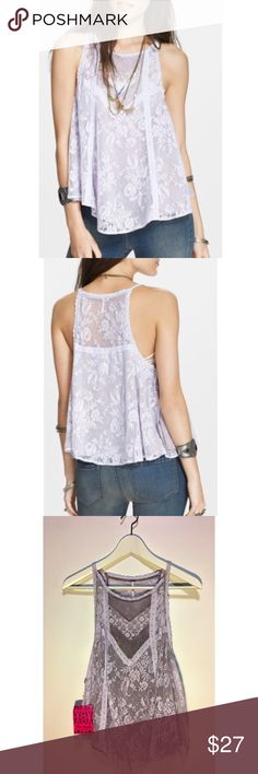 """NWT Free People """"Miss Mackenzie"""" lace tank top A-line floral lace tank top by Free People in """"sweet lilac combo"""" color. Accented with dainty trim and lace-up tie details under the arms. Lined, 100% nylon, machine wash cold/tumble dry low. Never worn/perfect condition and new with tags. *purchased at FP sample sale-- final product, same cut/material sold at retail. Free People Tops Tank Tops"""