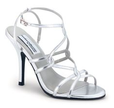 Strappy silver high heel shoes